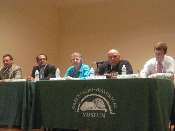 Jay speaking at a candidate forum alongside (L to R) Robbie Perkins, DJ Hardy, Julie Lapham and Ryan Shell.