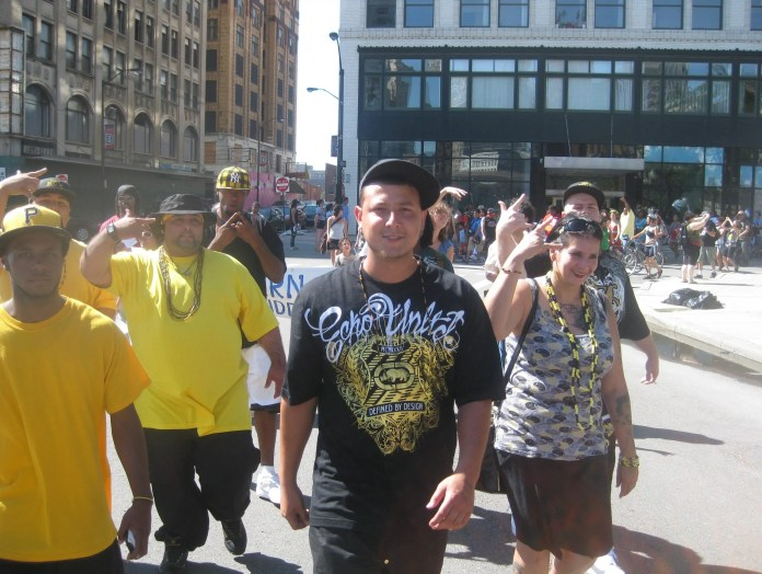 Marching at the US Social Forum in Detroit. Center: King Peaceful.