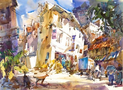 "Singapore native Woon Lam Ng's painting, ""A Sunlit Morning, Companions"" takes an impressionistic look at a sleepy side street."