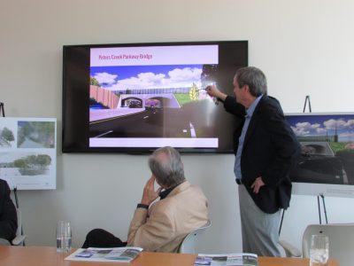 Larry Kirkman and rendering for Peters Creek Parkway bridge