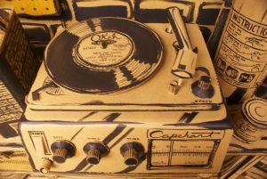 Full Stop revels in details, like the knobs on this cardboard record player. (Anthony Harrison)