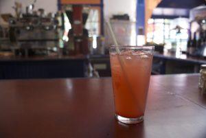 Raspberry  lemonade, light on the sweet.