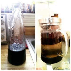 For those wanting an alternative to pricey iced coffees that are just okay, making your own is pretty easy. A French press and a bottle and you're done. (Sayaka Matsuoka)