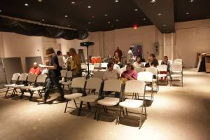 People filter into PB & Java's black-box theater for Barefoot Bijou's first short-film screening. (Les Butchart)
