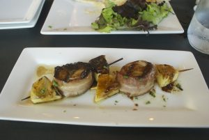 The bacon-wrapped scallops