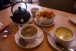 The soups and salad