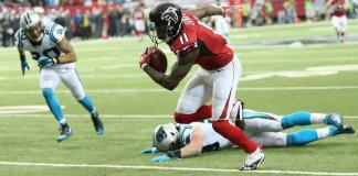 Julio Jones and the Fall of Luke [courtesy Panthers.com]
