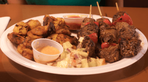 The beef kabobs with plantains