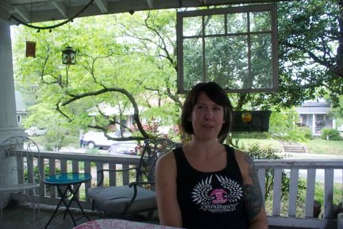 Liz Fitzpatrick on her porch