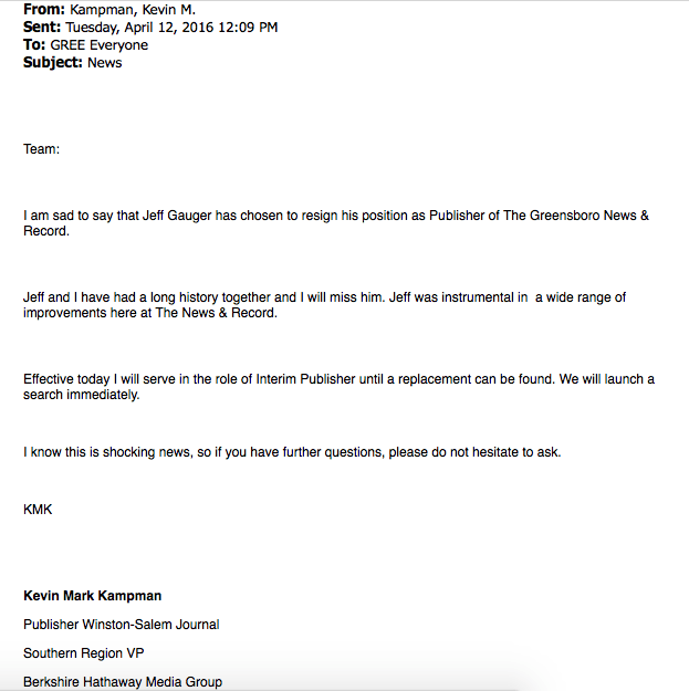 A screenshot of Kampman's email, provided by an employee.