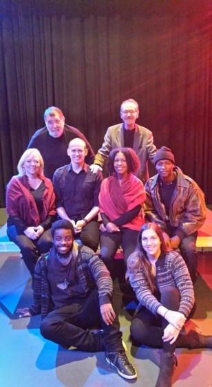 "Gee, top right, with the cast of the last show he directed with the Touring Theatre of North Carolina, ""Living Rough."" (Photo courtesy of Camilla Millican)"