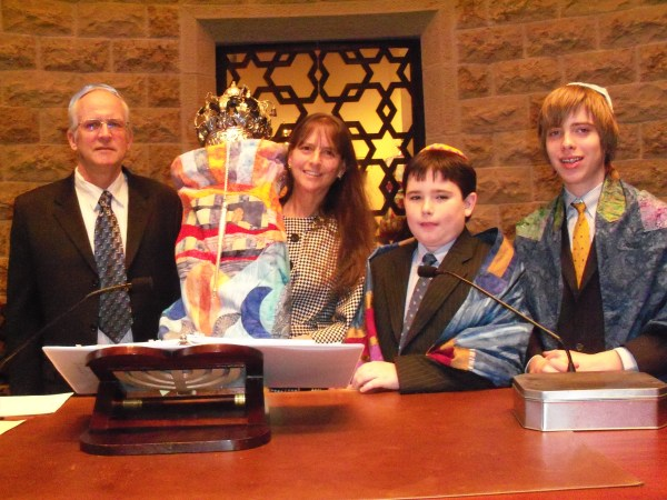 Ellin Schott helped her youngest son, Jacob (second from right), celebrate his Bar Mitzvah in 2010. Also pictured, her husband Michael and oldest son, Hunter Brown.