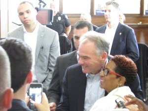 Vice presidential hopeful Sen. Kaine made a point of connecting with individual supporters in the depot audience.