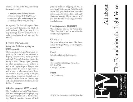 Side 2 of informational flyer about the Foundation for Light Verse
