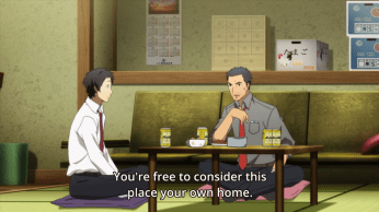 The texturing Dojima gets in this episode is nice. We've seen him be kind and caring to Nanako and Yu, but seeing him take care of Adachi too shows he is a nice guy, if a bit of a hard-case.