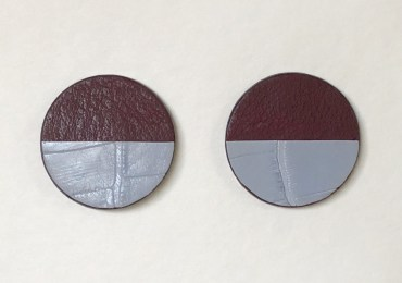 Burgundy and sax blue bicolor, cow and crocodile leather circle earrings