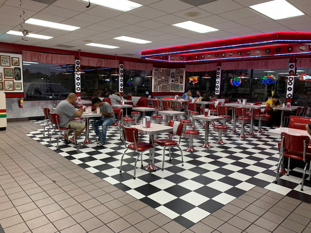 Fast Food Burger in a Retro Style Diner at Triangle Drive in on McKinley Ave in Fresno, CA