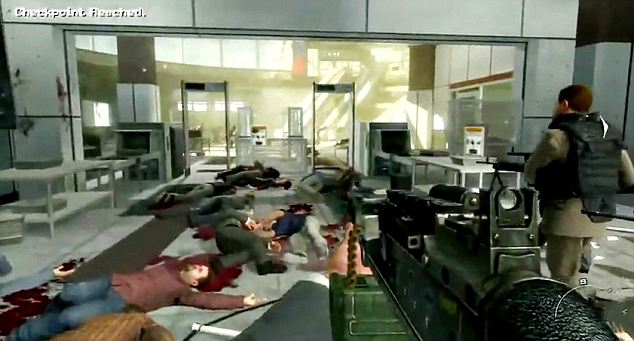 Screen shots from the new game 'Call of Duty 2: Modern Warfare' released today in the UK, Airport scene where civilians are massacred Source: YouTube