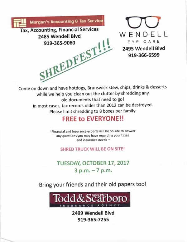 Shredfest in Wendell: free paper shredding and free food