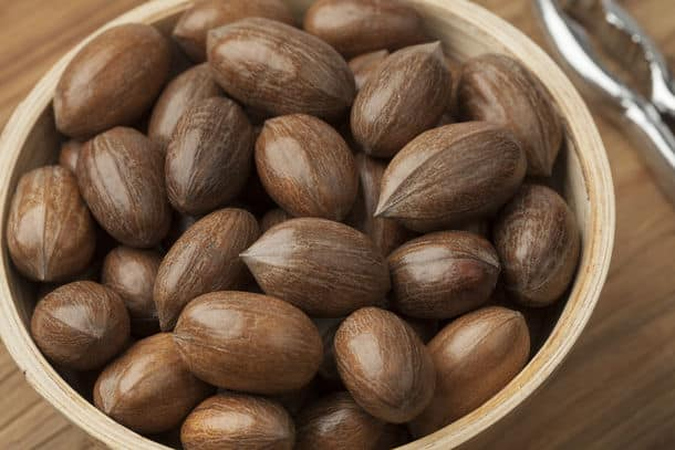 Wooden Bowl With Whole Pecan Nuts