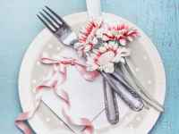 Lovely Table Place Setting In Pastel Color With Plate Cutlery Flowers And Card With Ribbon On Turquoise Blue Shabby Chic Background Top View Mock