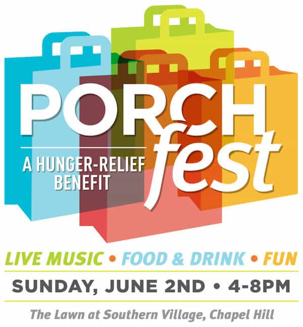 Logo for PorchFest, a hunger-relief benefit in Chapel Hill. Several grocery bags of different colors.