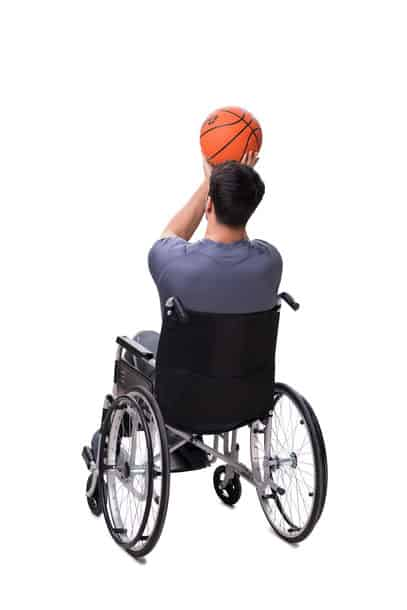 Basketball Player Recovering From Injury On Wheelchair