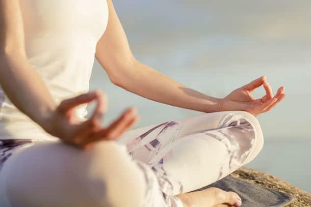 Yoga Woman Meditating Outdoors Yoga Woman Meditating Outdoors Close Up Hands