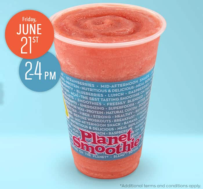 Free smoothie at Planet Smoothie for National Smoothie Day