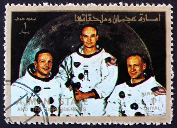 Ajman Circa 1973 A Stamp Printed In The Ajman Shows Crew Of Apollo 11 Neil Armstrong Buzz Aldrin And Michael Collins Moon Landing Apollo 11 Ci