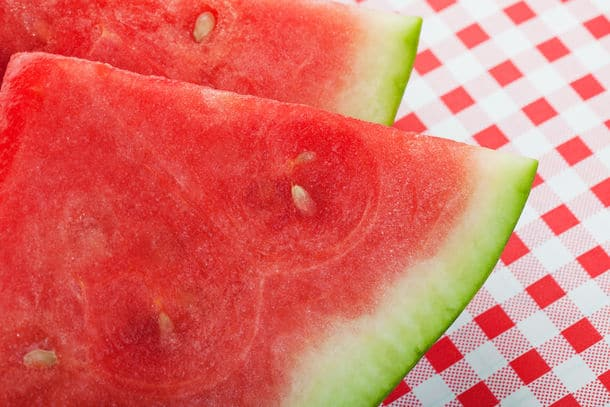 Closeup Of Two Slices Of Juicy Red Watermelon Shallow Depth Of Field