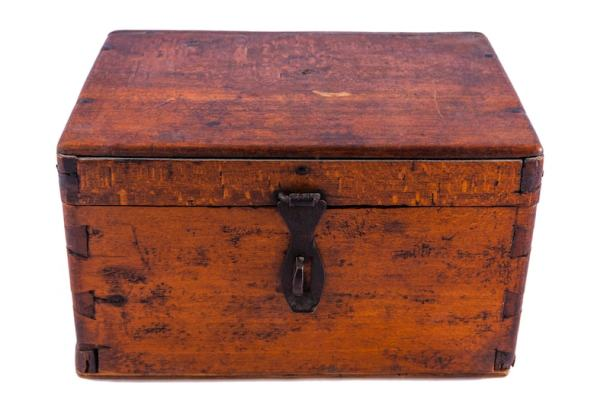 old wooden chest for time capsule
