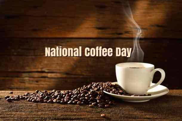 coffee cup and beans with words national coffee day