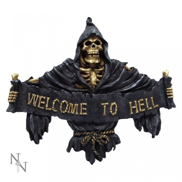 Welcome to Hell Skull Wall Plaque Art Sign