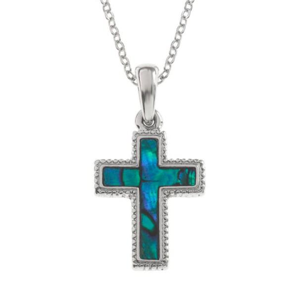 Paua Shell Purple Blue Cross Crucifix Pendant Necklace Rhodium Chain Tide Jewellery Talbot Fashions Organic New Zealand Sea Opal