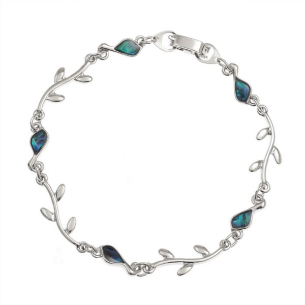 Paua Shell Purple Blue Green Bird & Branch Bracelet Rhodium Chain Tide Jewellery Talbot Fashions Organic New Zealand Sea Opal