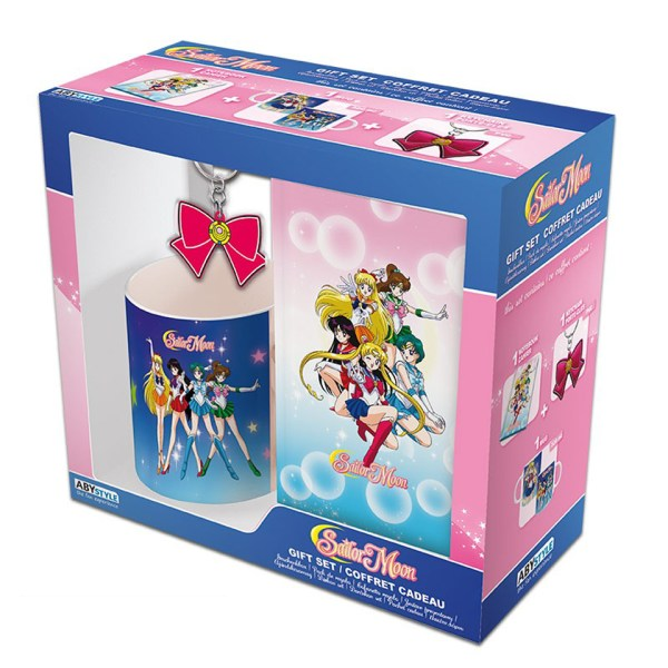 Sailor Moon Gift Set Blue Pink Mug Kitchenware Drinkware Notebook Stationary Key Ring Chain Bow Mars Jupiter Mercury Venus Luna Guardians Warriors Manga Anime Alternative Official Merchandise Collectors
