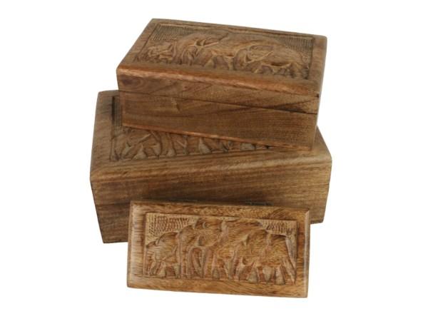 Carved Engraved Elephant Wooden Boxes Stacking Box Mango Wood Indian Nesting Small Medium Large