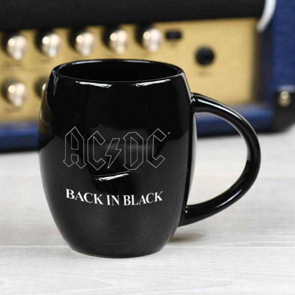 AC/DC Black Oval Mug Official Band Merch Back In Black Logo Iconic Music Rock Classic Retro Nostalgia
