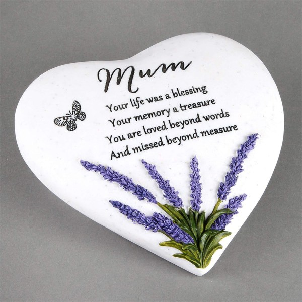 Mum Memorial Plaque Heart Shape Resin Stone Widdop Graveside Gift Lavender Butterfly