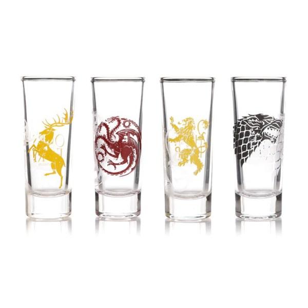 Set of 4 Tall Shot Glasses Game Of Thrones House Targaryen Lannister Baratheon Stark Sigil