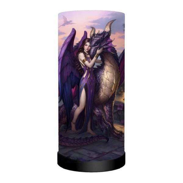 Dragon Sanctuary Cylindrical Round Table Lamp Light Mains Powered Nemesis Now Angel Dragon James Ryman