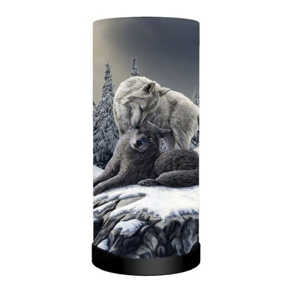Snow Kisses Cylindrical Round Table Lamp Light Mains Powered Nemesis Now Wolves Wolf Lisa Parker Winter