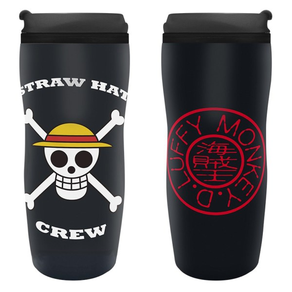 One Piece Travel Mug Jolly Roger Monkey D. Luffy Straw Hat Crew Pirate Anime Manga Collectors Alternative Official Merchandise