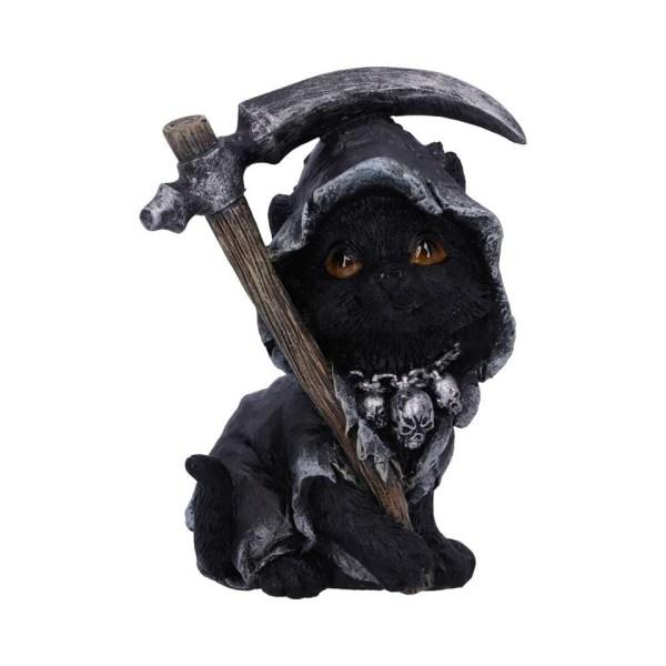 Amara Cat Nemesis Now Shroud Cape Cloak Scythe Chain Skulls Occult Grim Reaper Death Familiar Spiritual Dark Spirits Figure Magic