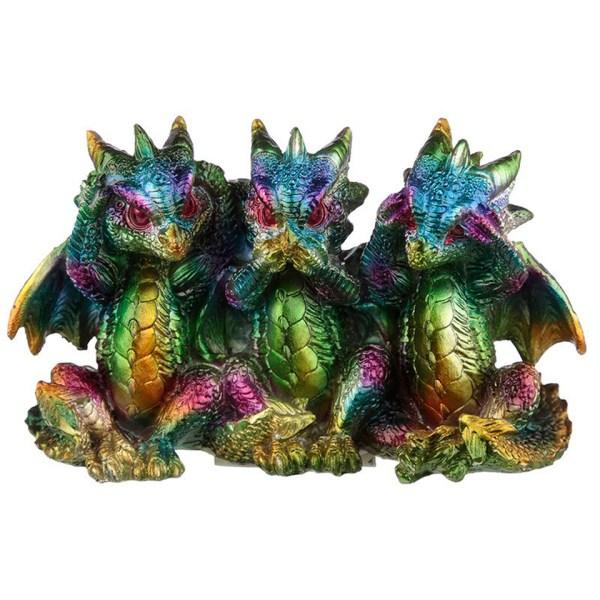 Three Wise Rainbow Dragons Metallic Multi Colour Confucius Figures See No Evil Hear No Evil Speak No Evil Puckator