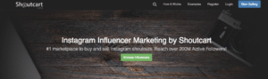 shoutcart instagram influencer marketing platform