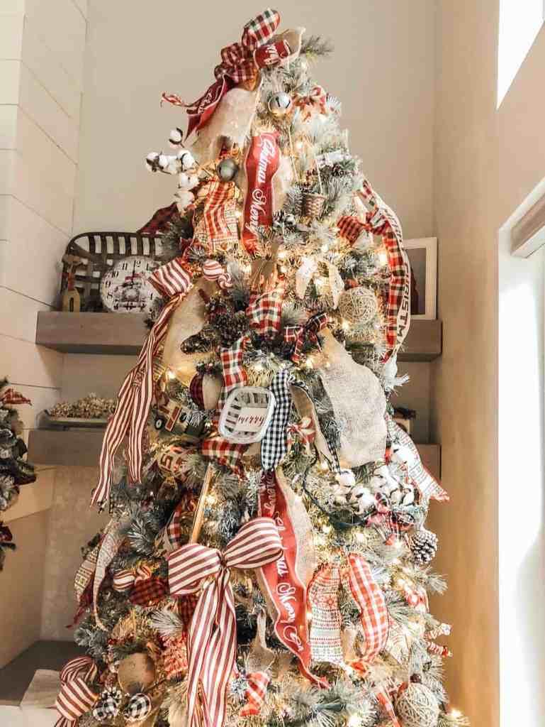 Decorated DIY Flocked Christmas Tree
