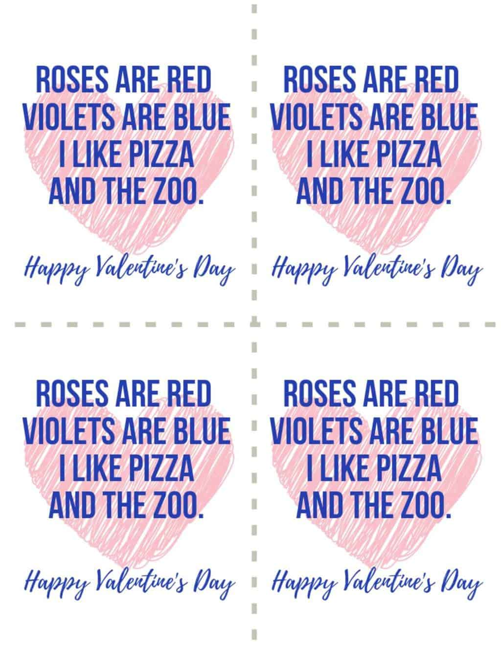 Valentine's Day Card Blue writing