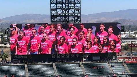 FUHS band and choir perform the national anthem at Angel Stadium